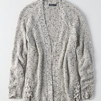 AEO Side-Lace Cardigan, Light Gray