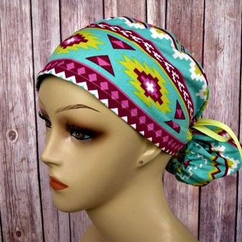 Ponytail Scrub Hat - Scrub Caps - Surgical Hat - Aztec