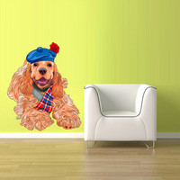 Full Color Wall Decal Mural Sticker Art Fashion Fashionable Animal Dog Hipster Cap Hat (col595)