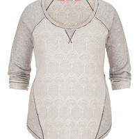 Plus Size - Lace Front Sweatshirt With Zippers - Gray