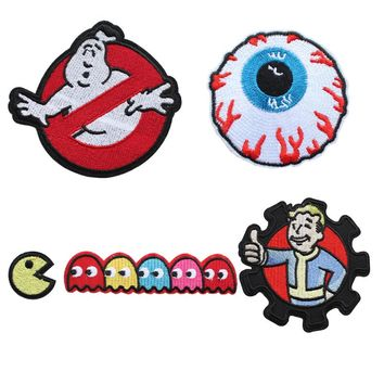 MISHKA Iron on Patches Sewing GHOSTBUSTERS patch Thumbs Up Brotherhood Pac-man Embroidered ghost patches for Garment diy craft