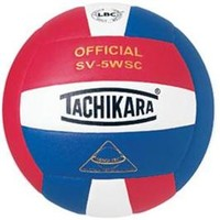 Tachikara SV5WSC Sensi-Tec Composite High Performance Volleyball - Scarlet Red/White/Royal Blue