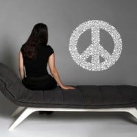 Flowered Peace Sign Hippie Flower Child Bohemian Beatnik Free Spirit Dropout Woodstock Joy Wall Art Sticker Decal Tr072