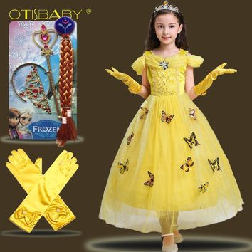 Beauty and the Beast Costume for Halloween Girls Belle Princess Dress Butterfly 3D Formal Frocks Aurora Cinderella Dress Up