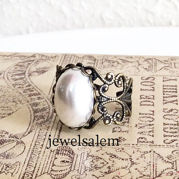 White Pearl Ring Black Brass Modern Victorian Ring Gift Exotic Gothic Pewter Steampunk Vintage Style Heirloom Statement