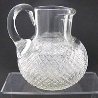 American Brilliant Period Cut Glass Pitcher  Antique Strawberry diamond