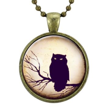Owl Necklace, Halloween Jewelry, Gothic Fashion, Spooky Scary Bird Pendant