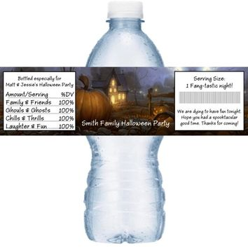 21 Halloween Party Water Bottle Labels