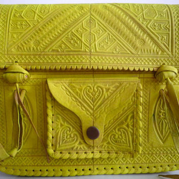 Neon Tropic Sun Yellow Moroccan 100% Leather Crossbody Bag