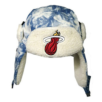 Mitchell & Ness Nba Miami Heat Acid Washed Denim Trapper Hat (S/M)