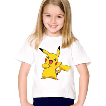 Children Cartoon Print  Go Pikachu T-shirts Kids Funny Summer Clothes Casual Tops Cute Baby Tees For Boys/Girls,HKP2080Kawaii Pokemon go  AT_89_9