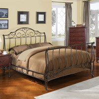 Full size Metal Sleigh Bed in Antique Bronze Cast Iron with Headboard and Footboard