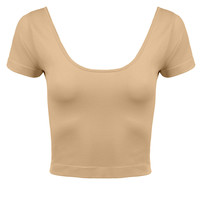 LE3NO Womens Short Sleeve Scoop Neck Crop Top (CLEARANCE)