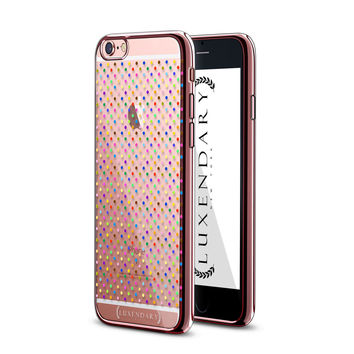 CONFETTI COLORFUL CENTERED POLKA DOT PATTERN ON ROSE GOLD FOR IPHONE 6/6S PLUS