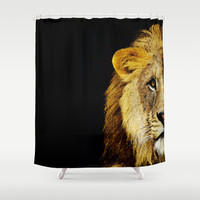 Lion Art - Face Off Shower Curtain by Sharon Cummings