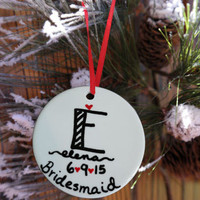 Bridesmaid Christmas Ornament, Bridesmaid Gift, Christmas Gift for Friend, Bridal Party Gift, Maid of Honor Gift