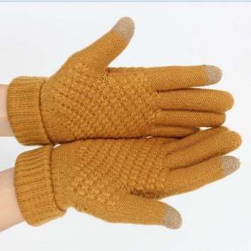 fashion warm touch Gloves for Women Girl Female Stretch Knitted Gloves Mittens Hot Winter Warm Accessories Wool ski gloves