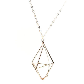 Big Solitary Diamond Necklace - Gold