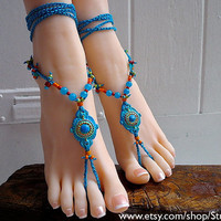 NO.8 - bright blue Hippie Gypsy Bohemian crochet Barefoot Sandals foot jewelry