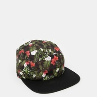 ASOS 5 Panel Cap In Black With Leaf Print