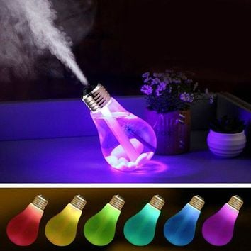 Portable 7 Colors Change LED Night Light Bulb Design Humidifier