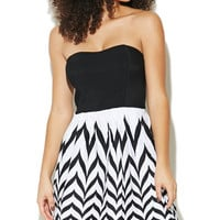 Tube Chevron Printed Skater Dress