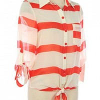 NAUTICAL STRIPES BUTTON DOWN SHIRT-Casual Tops