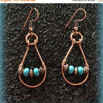 25% OFF Turquoise loop Earrings, Copper Earrings, Gemstone Earrings, Magnesite Earrings, Bead Earrings, Wire Wrapped Earrings, Gift for her