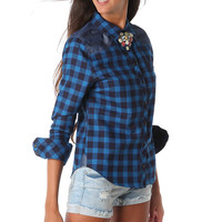 BLUE CHECK SHIRT WITH LONG SLEEVES