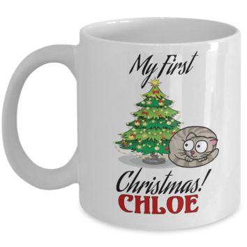 Personalized Christmas Cat Mug - Cartoon Mug for Dog Lover - Fun Personalization Gift For Her & Him