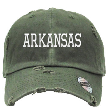 ARKANSAS Embroired Distressed Baseball