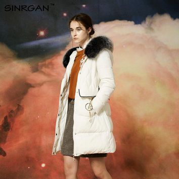 SINRGAN 2017 New Long Down Coats Winter Down Jacket Solid Slim Women Fox Fur Collar Hooded Warm Thick Outwear Female Parka