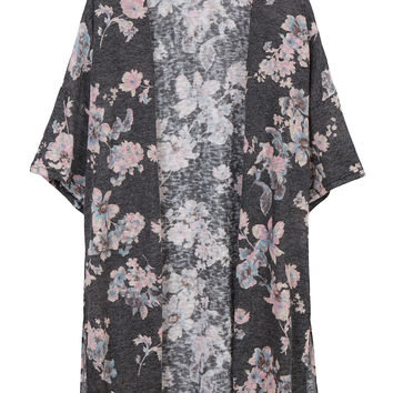 LE3NO Womens Floral Print Kimono Batwing Sleeve Open Front Knitted Cardigan