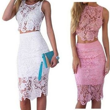 CREYUG3 Fashion Women Summer Dress Lace 2 Piece Set Bodycon Sexy Dresses [9221956804]