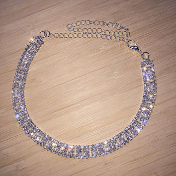 Lena Choker. Gorgeous Choker Necklace with Sparkly Glass Crystals. Trendy Choker. Celebrity Choker. Bridal Necklace.