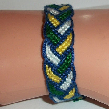 Blue, Green, White & Yellow Bordered Braid Pattern Macrame Embroidery Friendship Bracelet