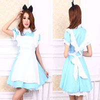 Plus Size XXL Alice In Wonderland Costume Lolita Dress Maid Cosplay Fantasia Carnival Halloween Costume For Women Adult Kid Girl