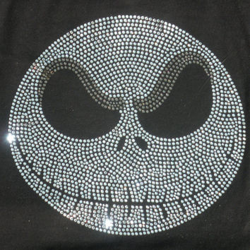 "8.27"" JACK SKELLINGTON Nightmare before Christmas iron on rhinestone TRANSFER for tshirt"
