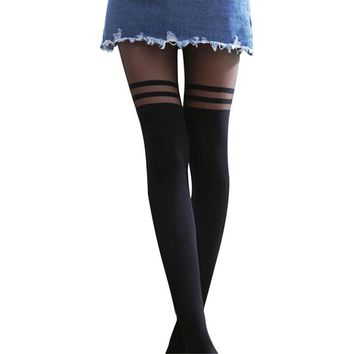 Women Sexy Cool Mock Over The Knee Double Stripe Sheer Black Temptation Sheer Mock Suspender Pantyhose Tights