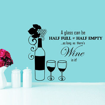 Wall Decals Bottle Glass of Wine Grapes Promo Cafe Vinyl Sticker Home Decor O82
