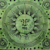 Green Sun And Moon Tapestry,Indian Cotton Tapestry,Good morning Sun Sheets Wall Hanging,Hippie Tapestries Wall Decor,dorm room Beach Blanket