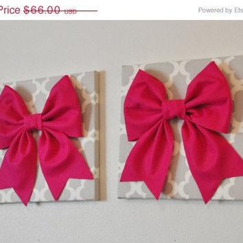 "MOTHERS DAY SALE Two Bow Wall Hangings -Large Hot Pink Bows on Neutral Gray Tarika Trellis 12 x12"" Canvas Wall Art- Baby Nursery Wall Decor-"