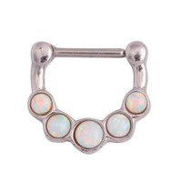 Swan Jo Stainless Steel Nose Ring Septum Clicker with Opal Stone Piercing Nariz Body Piercing Jewelry Nose Ring Nipple Pircing