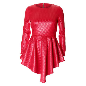 Quilted Faux Leather Cascade Skirt Mini Dress, Enamel Red