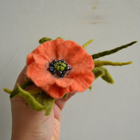 Salmon Orange Wool Felted Poppy with Green Stems, Wool felted Flower, Orange is the New Black Flower, Orange Brooch, Flower Pin, Wool Flower