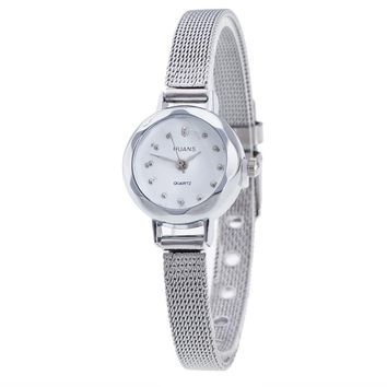 Small Round Dial Women Mesh Band Quartz Watch Famous Luxury Top Brand Simple Design Ladies Stainless Steel Wrist Watches Clock