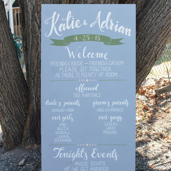 "Custom Wedding Program Sign | hand painted wedding sign | custom wedding signage | 24"" x 48"""