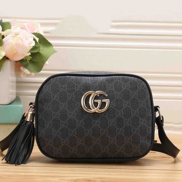 Gucci Trending Ladies Tassel Print Leather Shoulder Bag Zipper Crossbody Satchel Black I-RF-PJ