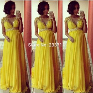 2017 Robe De Soiree Plus Size Yellow Beaded V Neck Empire Maternity Long Chiffon A-Line Prom Evening Dresses Pregnancy Gowns