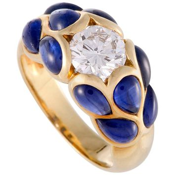 Van Cleef & Arpels Diamond and Cabochon Sapphire Yellow Gold Ring